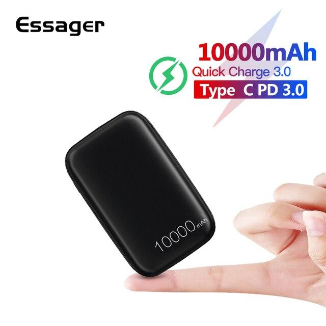 Essager 10000mAh باور بانك صغير 10000 شحن سريع 3.0 باور بانك صغير لهاتف شاومي Mi USB C PD شاحن بطارية خارجي محمول