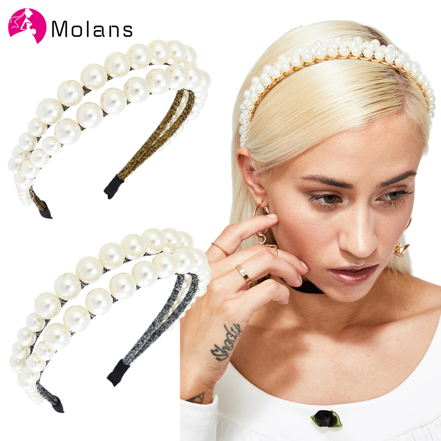 Molans Double Layer Pearl Headbands Bridal Hairbands Wedding Hair Accessories Double Bands Diamante And Pearl Glitter Tiaras
