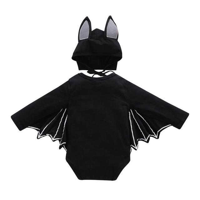 2PC Set Bat Halloween Costume - Long Sleeved, Winged Romper + Hat 1