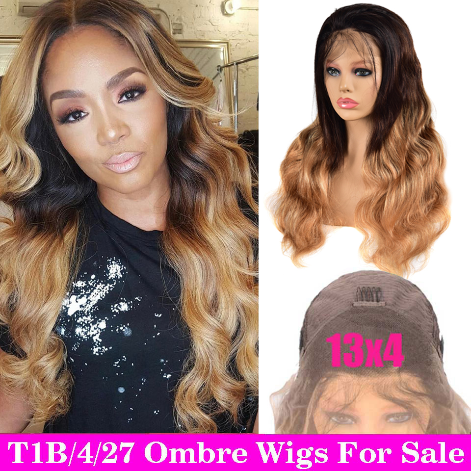 150% Ombre Lace Front Human Hair Wigs Pre Plucked Peruvian Body Wave Wig Remy 13x4 Brown Lace Frontal Wig Ombre Human Hair Wig