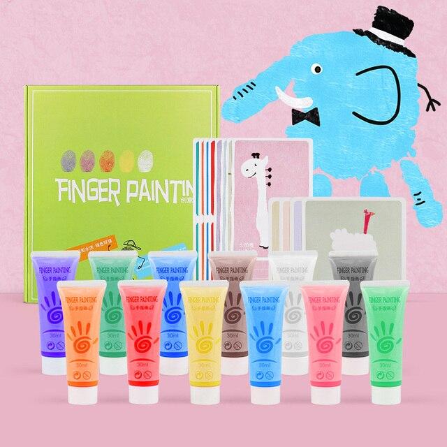 Ensemble de peinture de doigt des enfants 6/12 de couleur, peinture lavable de couleur, jouets créatifs de Graffiti de bricolage de Puzzle