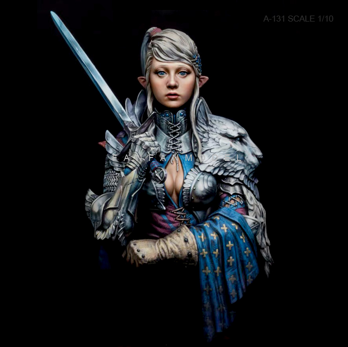 1/10 Resin Bust Kits Knight Female Model Self-assembled