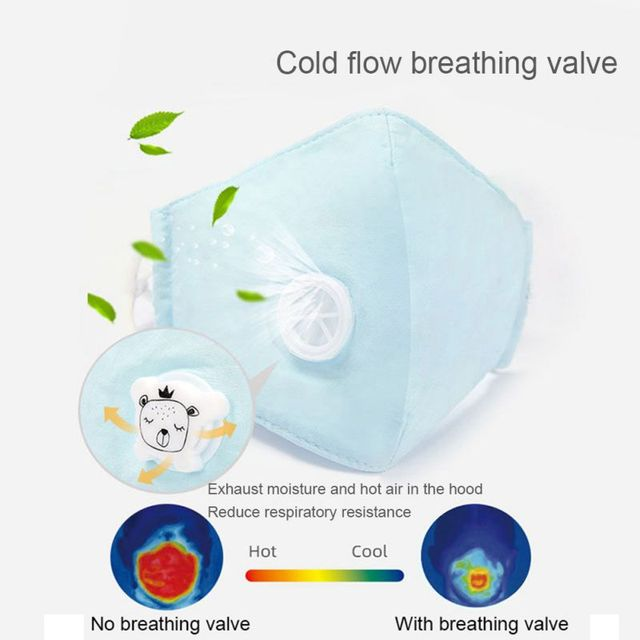 Children Face Mask With Breathing Design Cotton 3-layer Toddler Outdoor Anti-dust Mask Kids Protective Mask With 2pcs Filter 5