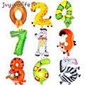 Мультяшные животные 0-9 цифры, фольгированные воздушные шары, джунгли, сафари, декор на день рождения, цифры, воздушные детские праздничные у...