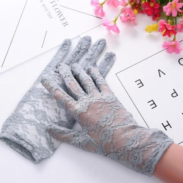 Fashion Women Lady Lace Party Sexy Dressy Gloves Summer Full Finger Sunscreen Gloves for Girls Mittens 2PCS 5