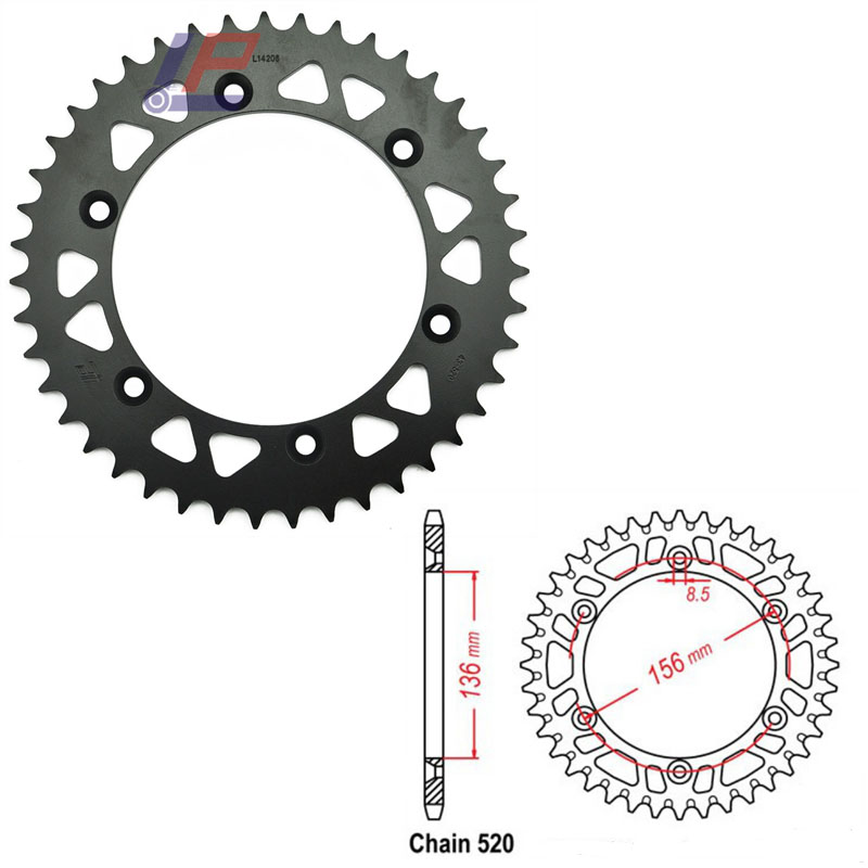 Motorcycle Rear <font><b>Sprocket</b></font> 520 <font><b>38T</b></font> 41T 42T 43T 44T 45T 46T for Suzuki DR350 DR-Z400 DR250 RGV250 DR400 Gas Gas 400 450 SM 250 WMX image