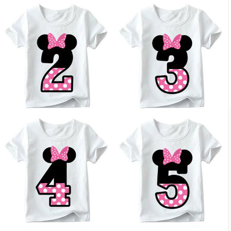 Baby Boys Girls T-shirt For Kids Birthday Letter Bow Print Clothes Children Tees Funny T Shirt Number 1-9 Birthday Present