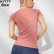Seamless Top Fitness Women Sport Shirt Short Sleeve Yoga Gym Jersey Breathable Workout Sportswear