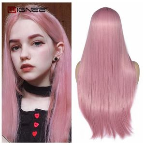 Image 1 - Wignee Pink Long Straight Hair Synthetic Wig For Women Hair Bundle With Closure Daily/Party Heat Resistant Glueless Hair Wigs