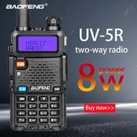 Baofeng UV 5R 8W True High Power 8 Watts powerful Walkie Talkie long range 10km Dual Band Two Way Radio CB Portable uv5r Hunting