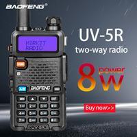 Baofeng UV 5R 8W True High Power 8 Watts powerful Walkie Talkie long range 10km Dual Band Two Way Radio CB Portable uv5r Hunting