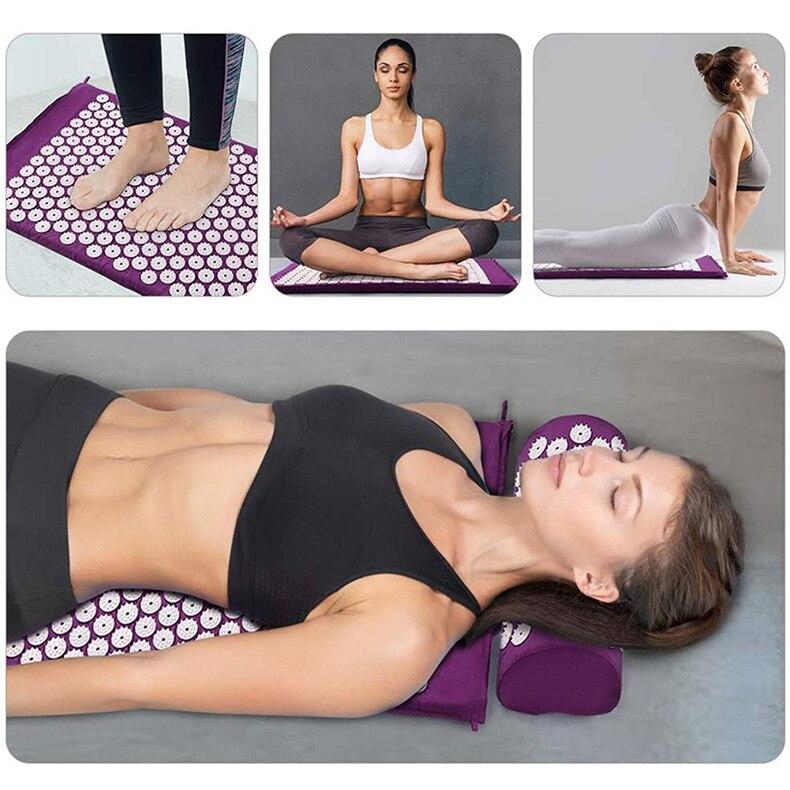 Tapete de acupressão massagem yoga massageador almofada