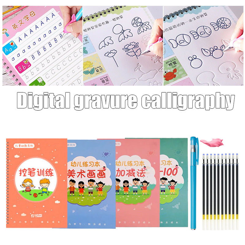 New Hot Magic Calligraphy That Can Be Reused English Handwriting Copybook Set Preschool Kindergarten Practice Calligraphy