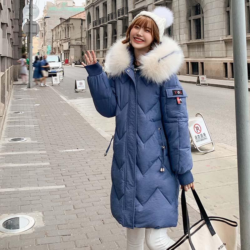 QIHUANG Winter Hooded Fur Collar Warm Thicken Women   Down     Coat   Fashion Plus Size Women Winter Parkas Jackets