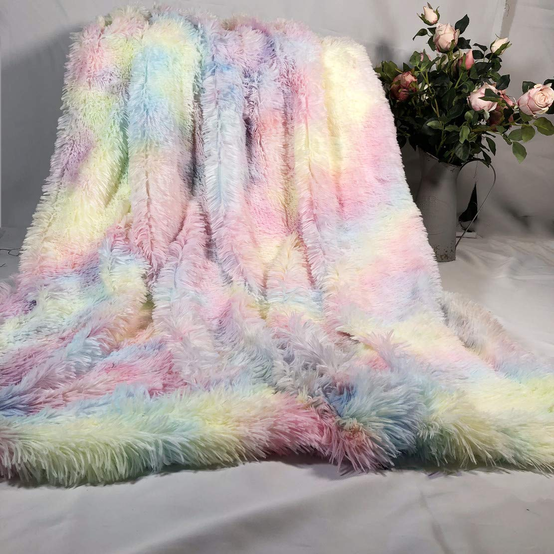 Rainbow Plush Super Soft Blanket Colorful Bedding Sofa Cover Furry Fuzzy Fur Warm Throw Cozy Couch Blanket For Winte