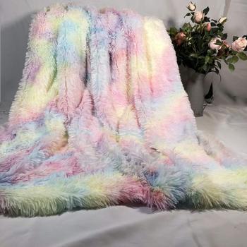 Rainbow pluszowe supermiękki koc kolorowe pościel Sofa pokrywa Furry Fuzzy futro ciepłe rzut przytulna kanapa koc dla zima