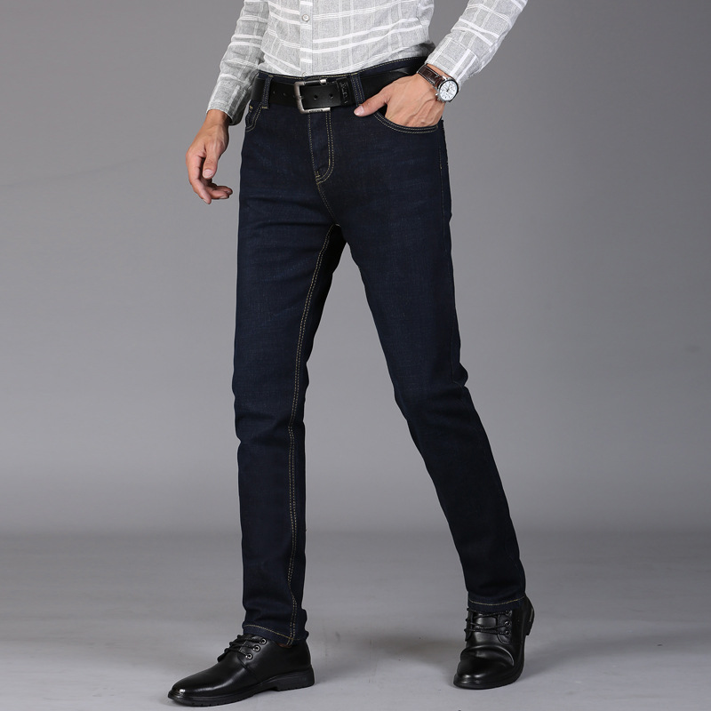 Men 39 s Stretch Straight Cylinder Moto Jeans Slim Fit Straight Denim Pants Distressed Trousers Black Ripped Jeans Winter Pants in Jeans from Men 39 s Clothing