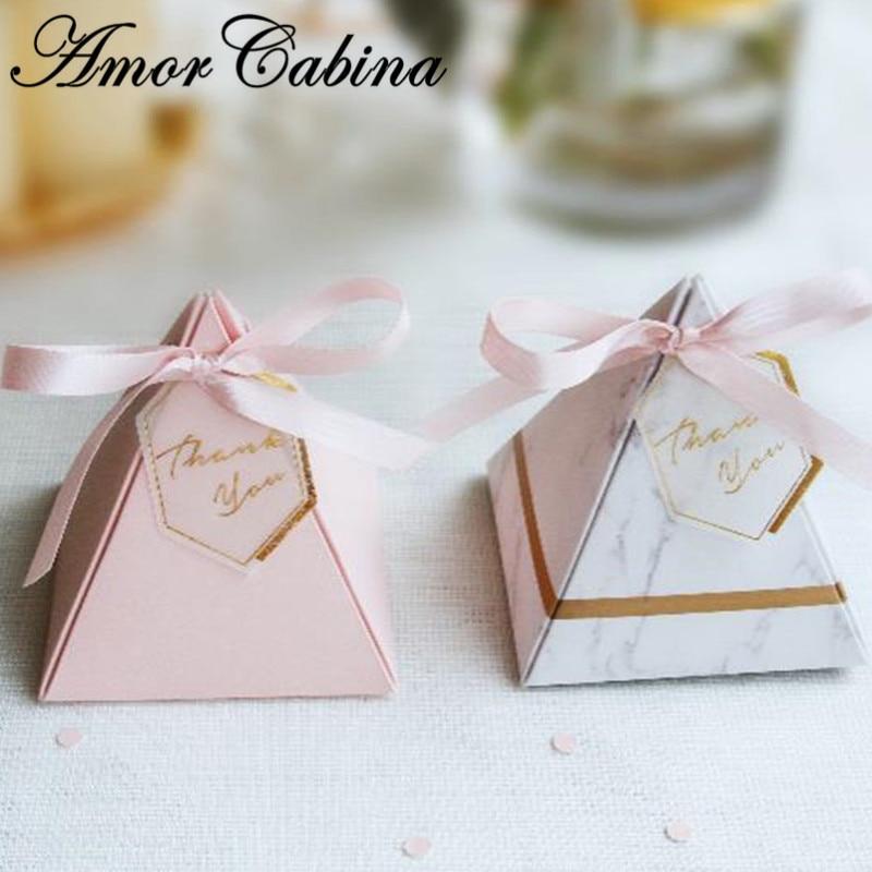 50pcs pyramide européenne rose marbre Style boîte à bonbons mariage comme fête fournitures Bomboniere merci cadeau boîte de chocolat