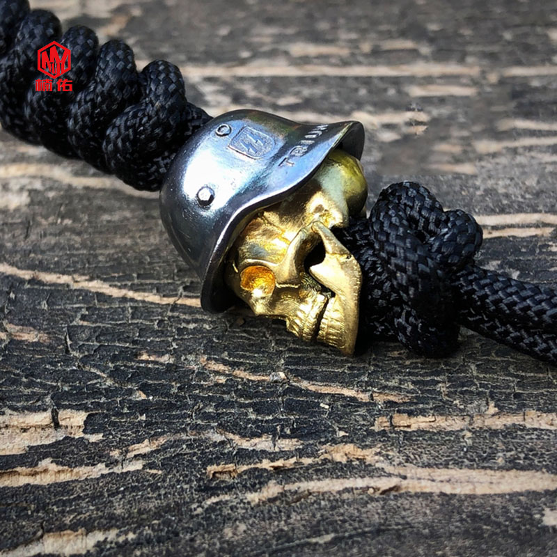 1 pièces 925 argent laiton crâne couteau perles à la main EDC parapluie corde couteau perles collier tête pendentif crâne peut être actif