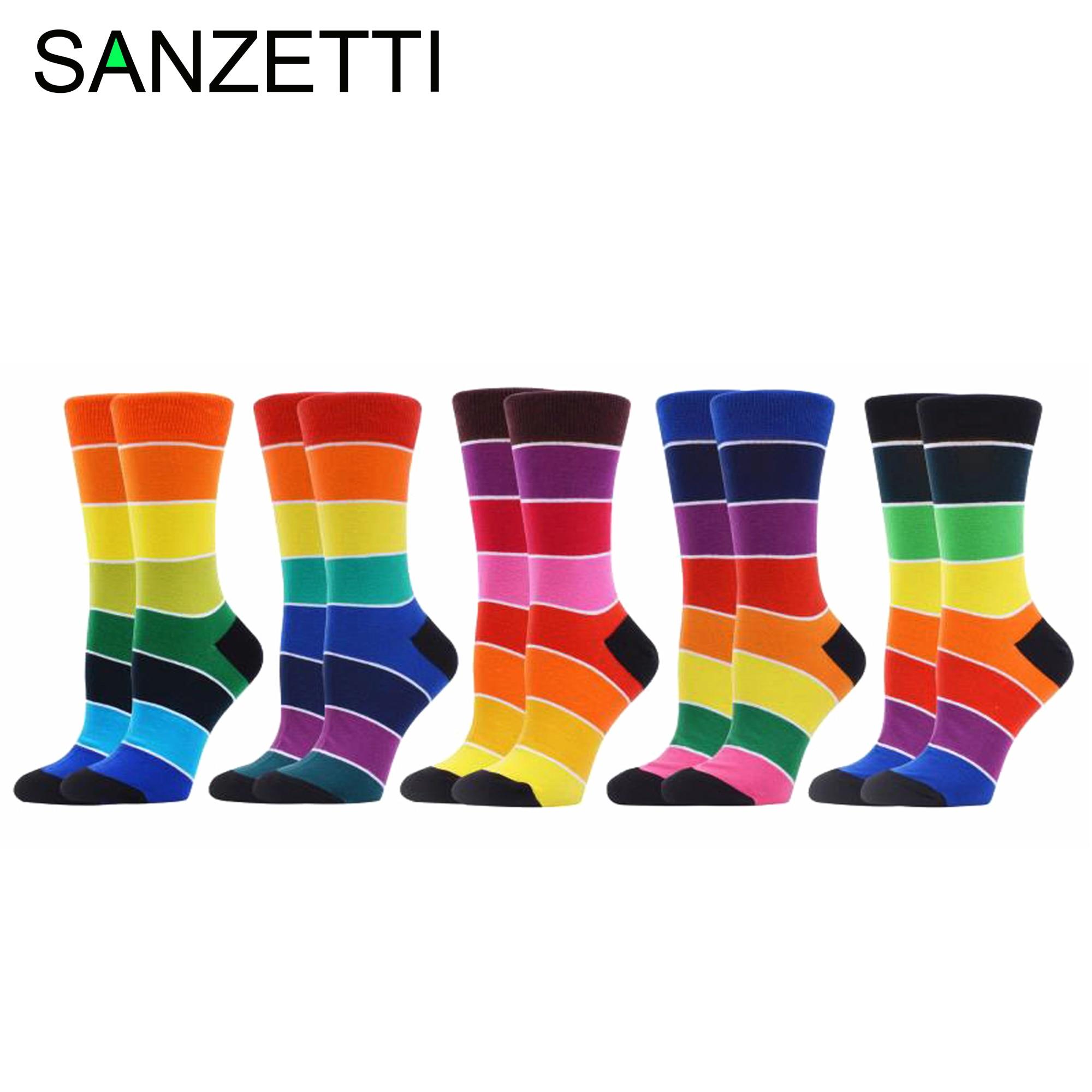 SANZETTI 5 Pairs 2020 Combed Cotton Socks Happy Colorful Iridescent Harajuku Aesthetic Novelty Wedding Gym Party Popular Socks