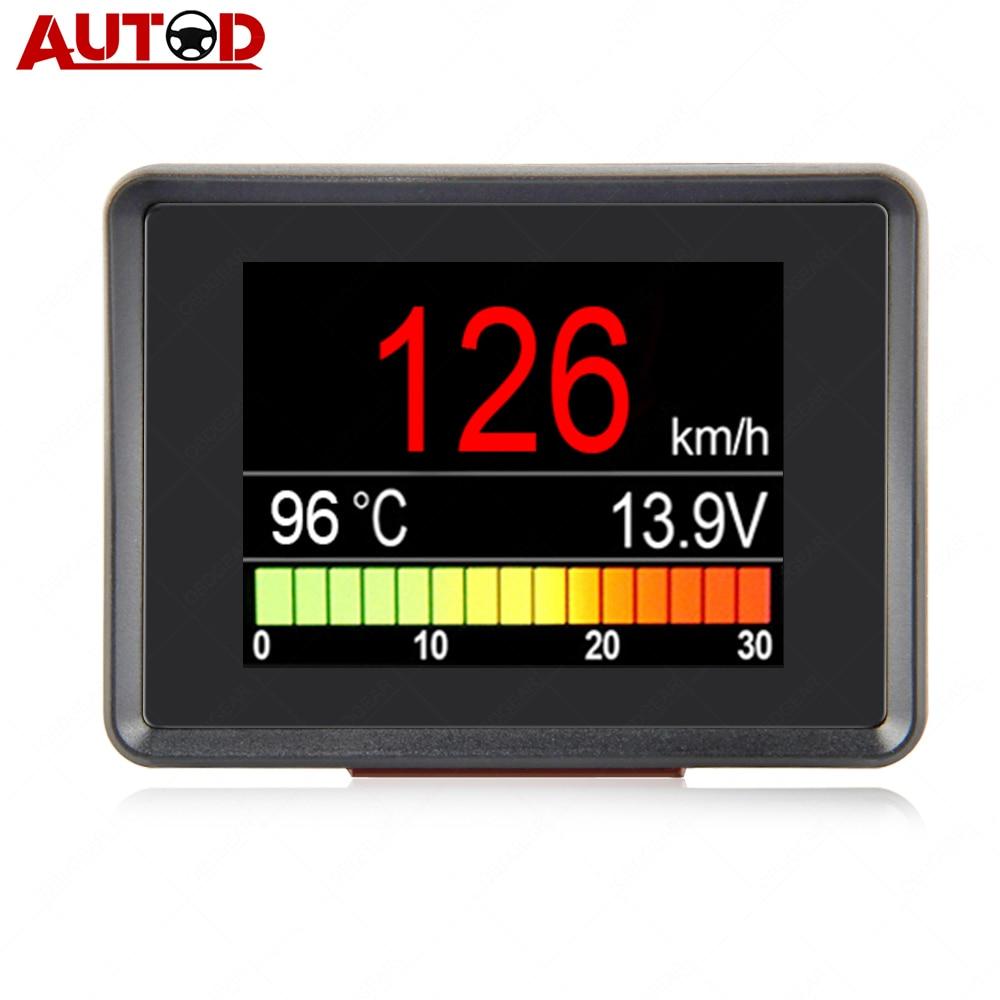 A203 OBD2 Coolant Temperature Gauge Diagnostic Tool Scanner Tachometer Speedometer Fuel Computer On-Board Car Computer OBD 2