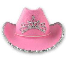 Western Cowboy Caps Crown Cowgirl Hat for Women Girl Pink Tiara Cowgirl Hat Holiday Costume Party Hat Feather Edge Fedora Cap