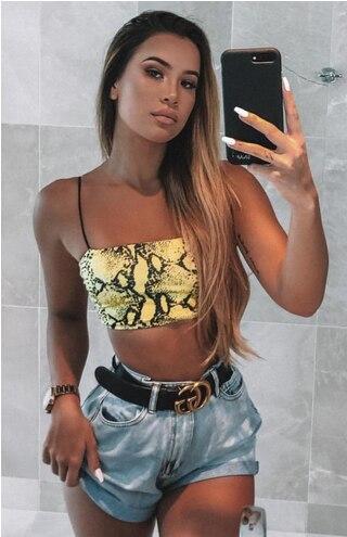 Frauen Sexy Ärmel Crop Tops T Schlange Haut Druck Tant tops Body Hemd 2020 Sexy Mode Damen Tanks