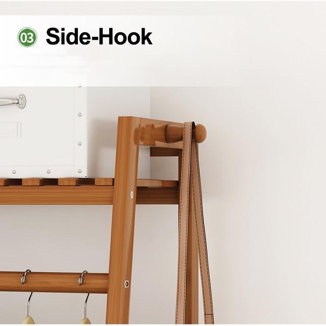 Bamboo Clothes Coat Rack w/ Storage  4