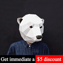 Paper-Model Origami Craft Animal Low-Poly Head-Mask Cosplay-Prop DIY 3D Adult Toy Polar-Bear