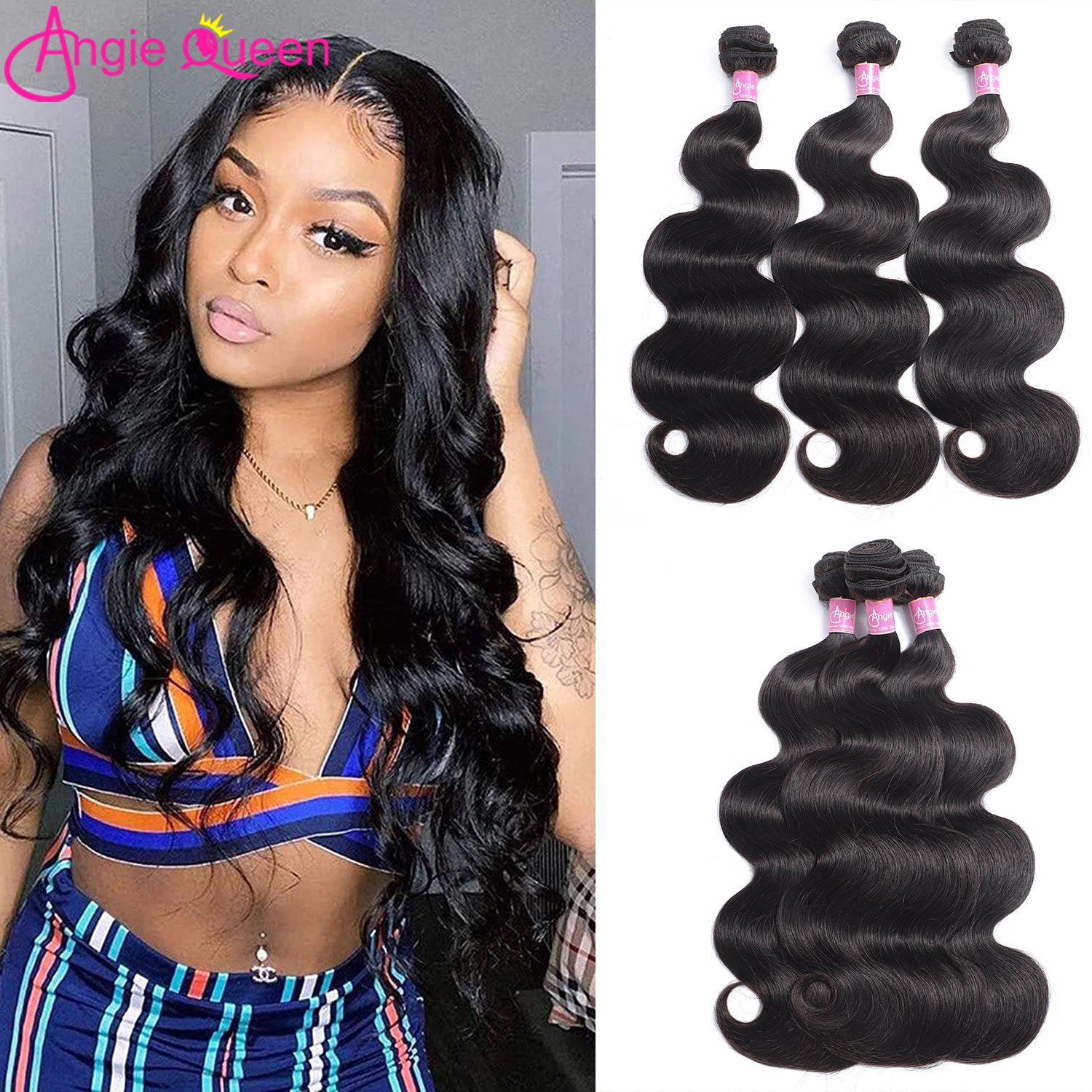 ANGIE QUEEN Body Wave Hair Bundles 100% Human Hair Weaves Brazilian Remy Hair 3 Bundles Natural Color Hair Extension 8-26Inches
