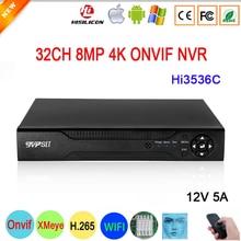 12V 5A Hi3536C XMeye Surveillance Video Recorder Face Detection H.265+ 8MP 4K 32CH 32 Channel Max 14TB SATA Onvif CCTV NVR DVR