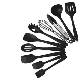 10PCS Silicone Tableware Non-stick Cookware Kitchen Cooking Tool Spatula Ladle Egg Beaters Shovel Spoon Soup with 10 Small Hooks 2