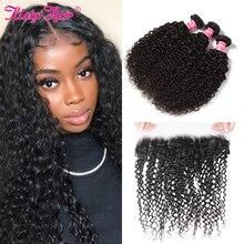 KlaiyiมาเลเซียCurly Hair 13X4ลูกไม้ปิดด้านหน้าสานผมมนุษย์4X4 Silkฐานธรรมชาติสำหรับผู้หญิง