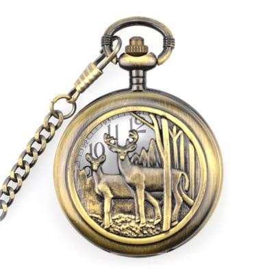 Unique Retro Bronze Deer Design Necklace Pendant Quartz Pocket Watch With FOB Chain Mens Womens Gifts