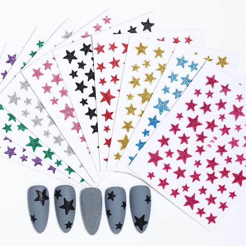 1 PCS 3D Nail Stars Moon Stickers Glitter Shiny Decoration Decal DIY Transfer Adhesive Colorful Nail Tips Tattoo Manicuring