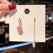 лучшая цена new asymmetric love earrings female S925 silver needle long web celebrity personality temperament tassel pearl earrings