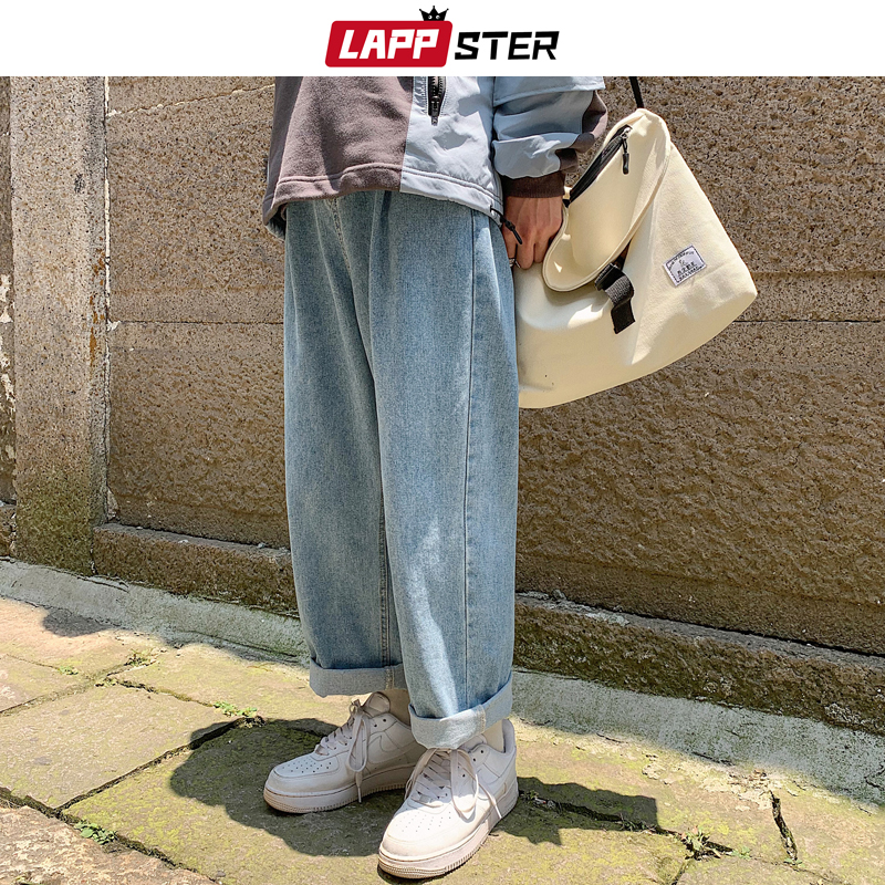 LAPPSTER Men Baggy Oversized Jeans Pants Denim 2020 Mens Hip Hop Harem Pants Vintage Casual Women Denim Pants Straight Pants