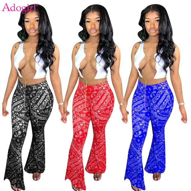 Adogirl S-2XL Women Casual Bandana Print Flare Pants 2020 New Fashion Sexy Foot Cut Bell Bottomed Trousers Night Club Outfits 1