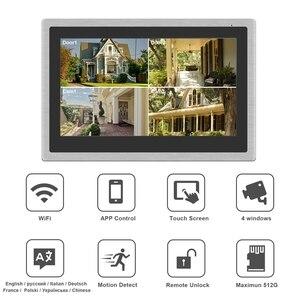 Image 2 - Беспроводной видеодомофон HomeFong для дома, IP видеодомофон с разблокировкой по отпечатку пальца, HD 10 дюймовый сенсорный экран, Wi Fi