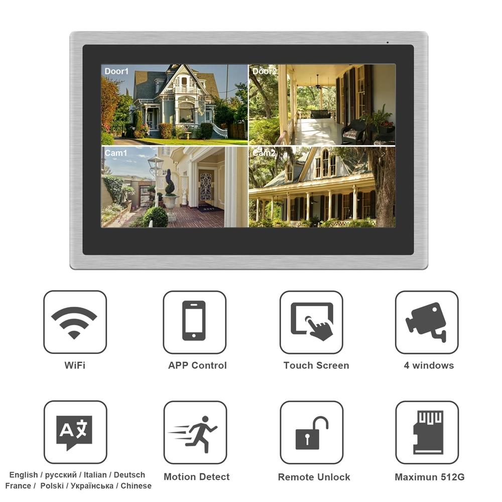 Image 2 - HomeFong Wireless Video Intercom for Home IP Video Doorbell Fingerprint Unlock  HD 10 inch Touch Screen Wifi Intercom System KitVideo Intercom   -
