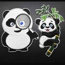 Мультфильм супер прекрасный большой размер полная вышивка панда животных клеящиеся утюгом украшения нашивки для одежды наклейки оптом