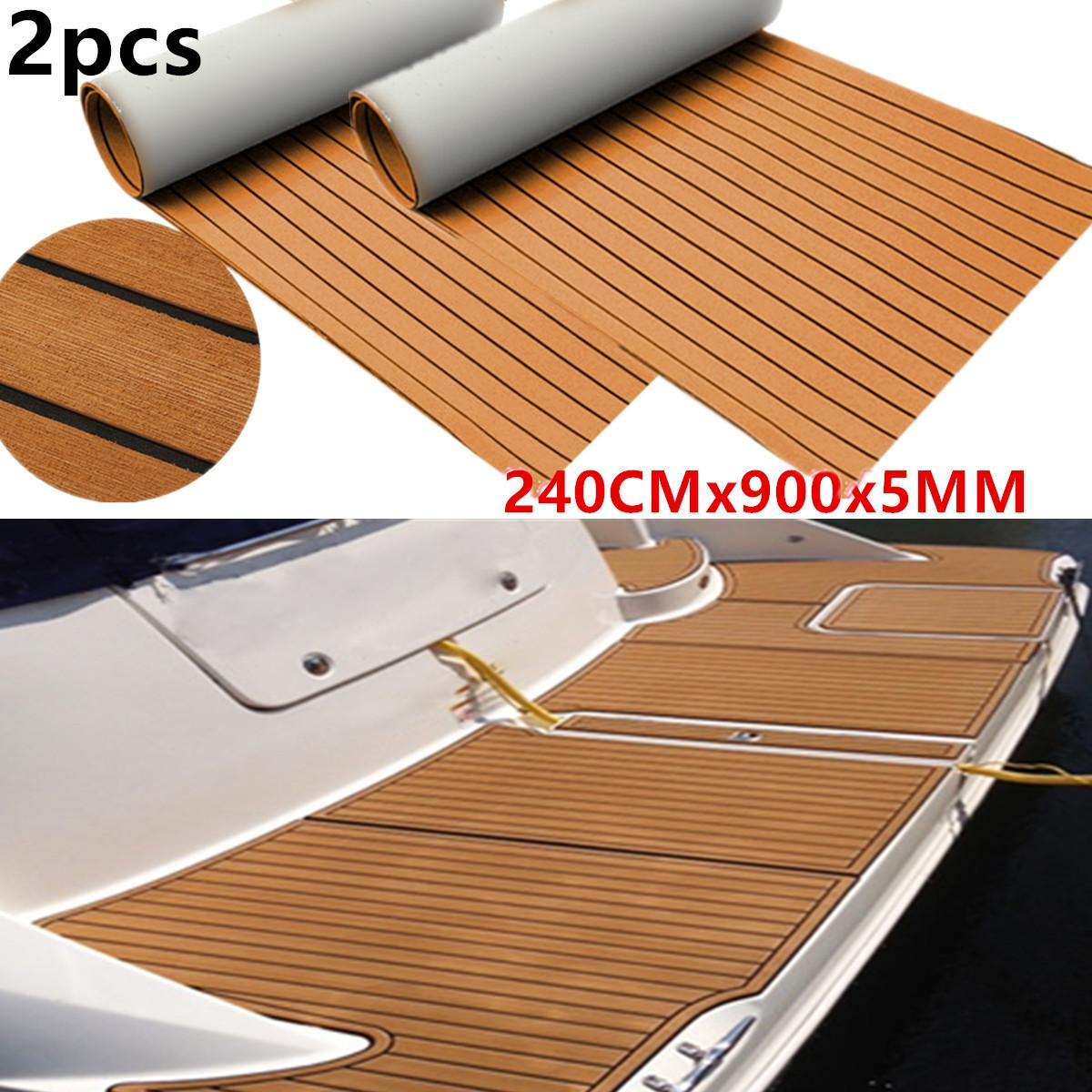 2Pcs 900x2400x5mm EVA Foam Imitated Teak Boat Deck Mat Brown Yacht Flooring Anti Slip Waterproof Mat Recreational Vehicle Pad