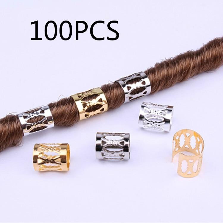 Hair-Rings Links Dreadlock Beads Braids Adjustable Silver Micro Black/mix Golden 100pcs/Lot