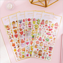 1pcs/lot Sweet Cake Fruit Crystal Epoxy Stickers Daily Life Scrapbook Paper Deco Girl Fashion Stationary Sticker Scrapbooking