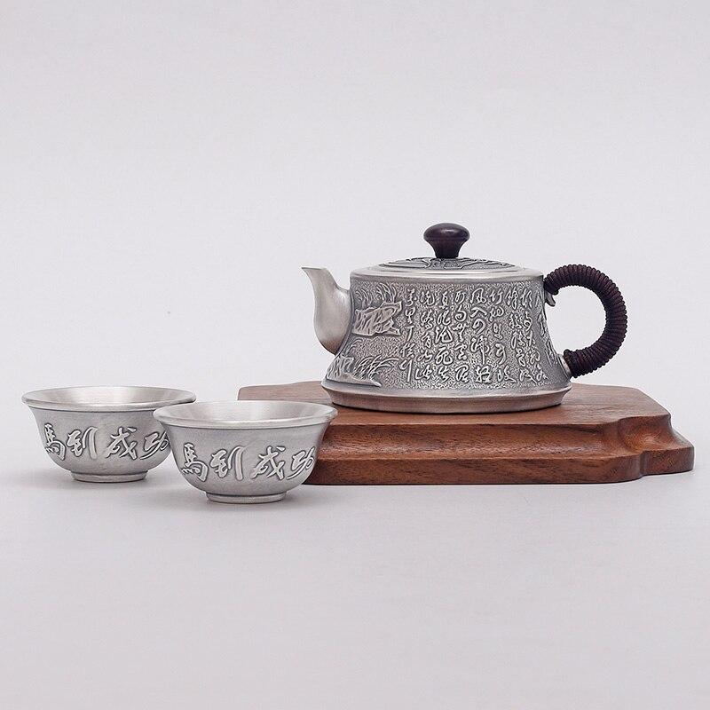 Juego de té plateado Kung Fu 925 juego de té de plata esterlina taza de plata ceremonia del té