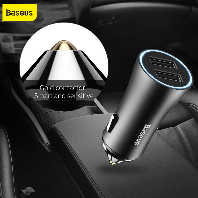 Baseus Brand Dual Port USB Car Charger 2.4A Fast Charge Metal Mini CarCharger Smart Light Car հեռախոսի լիցքավորիչը բջջային հեռախոսի համար