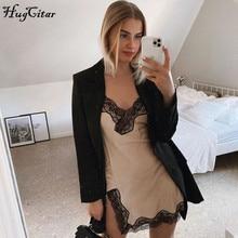 Hugcitar 2020 sleeveless lace patchwork V-neck sexy slip mini slip dress summer women streetwear outfits sleep wear