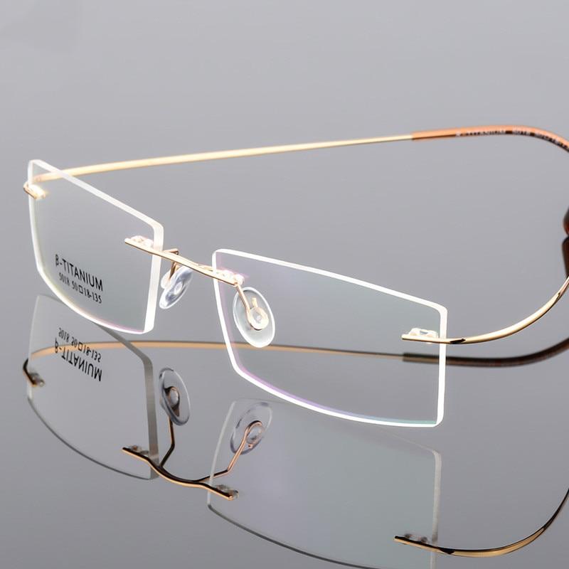 BEST PRICE) Classic Mens Pure Titanium Rimless Glasses