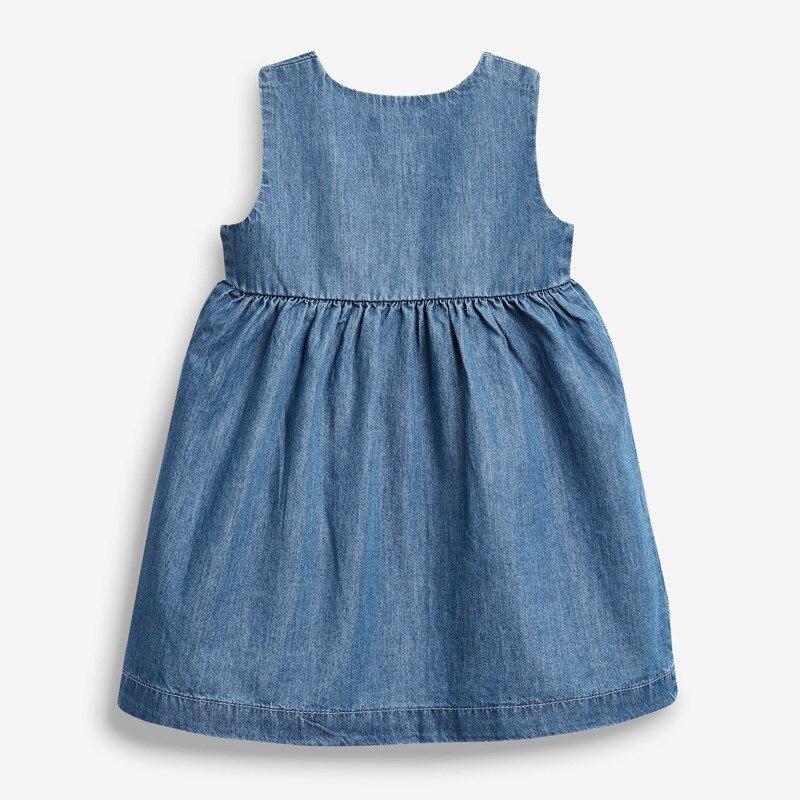 Little Maven 2021 Summer Baby Girl Clothes Children Unicorn Denim Color Sundress Pinafore Sleeveless Dress for Kids 2-7 Years 3
