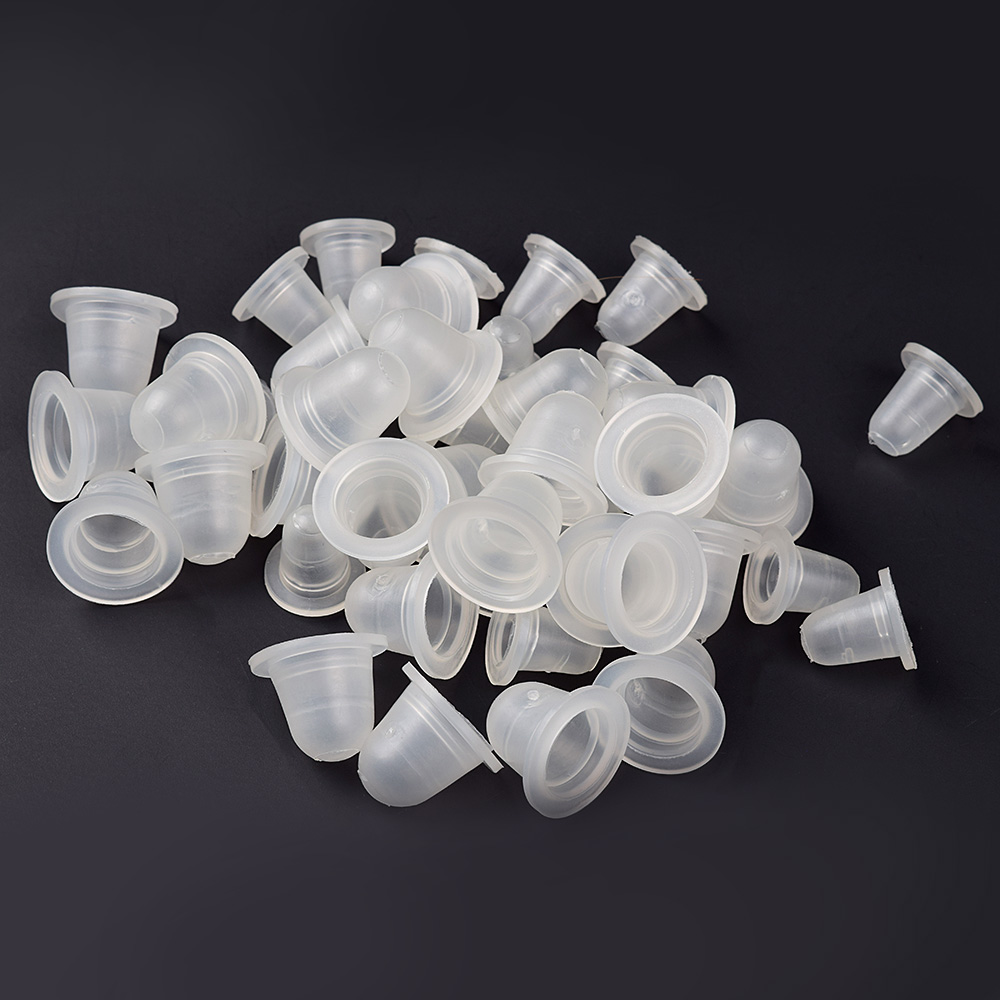 100Pcs Soft Microblading Tattoo Ink Cup Cap Pigment Silicone Holder Container S/L For Needle Tattoo Accessory Supply